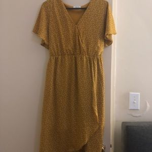 NWOT Sienna Sky mustard polka dot dress